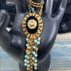 ✨Adorned Crown green bead jet black crown necklace